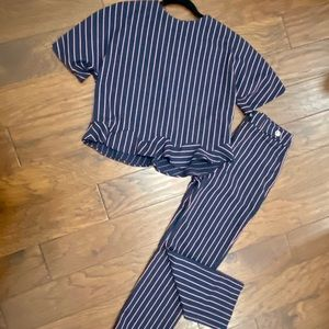 Zara navy striped set